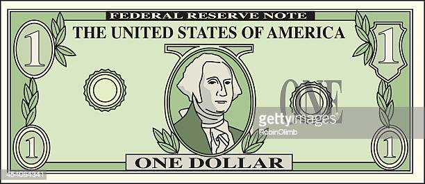 dollar bill - american one dollar bill stock illustrations, clip art, cartoons, & icons