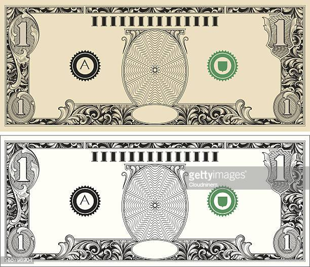 dollar bill with engraved scrollwork - us paper currency stock illustrations, clip art, cartoons, & icons