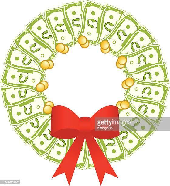 dollar bill wreath - christmas cash stock illustrations