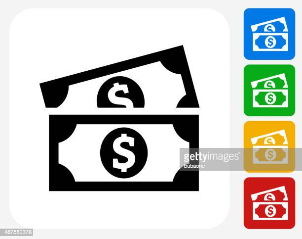 dollar bills icon flat graphic design - us paper currency stock illustrations, clip art, cartoons, & icons