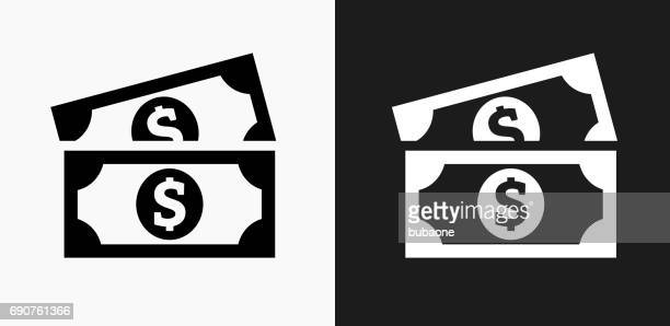 Dollar Bills Icon on Black and White Vector Backgrounds