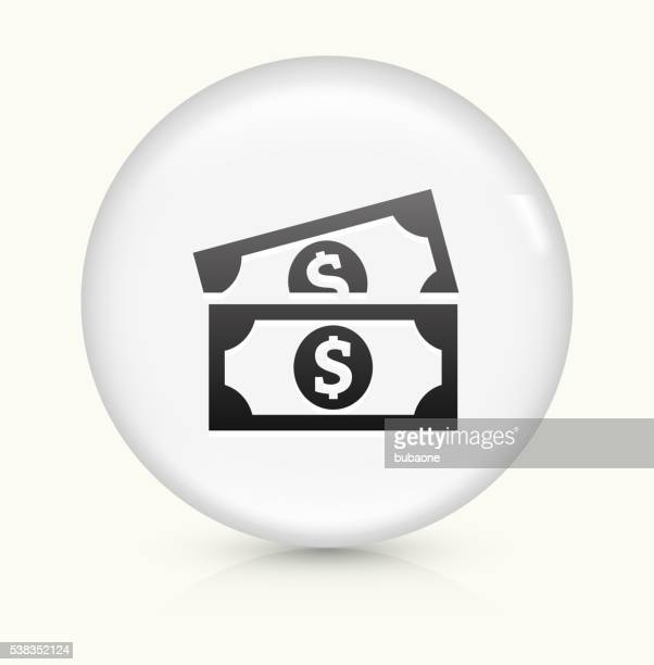 dollar bills icon on white round vector button - american one dollar bill stock illustrations, clip art, cartoons, & icons