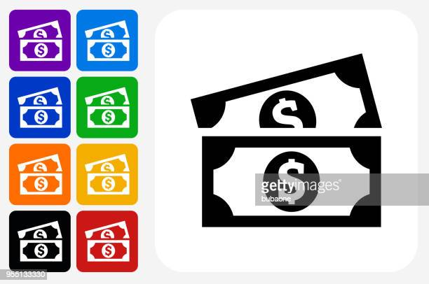 dollar bills icon square button set - american one dollar bill stock illustrations, clip art, cartoons, & icons