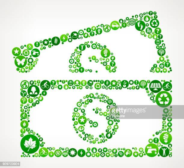 dollar bills nature and environmental conservation icon pattern - american one dollar bill stock illustrations, clip art, cartoons, & icons