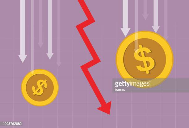 us dollar coin and red arrow going down - inflation stock illustrations