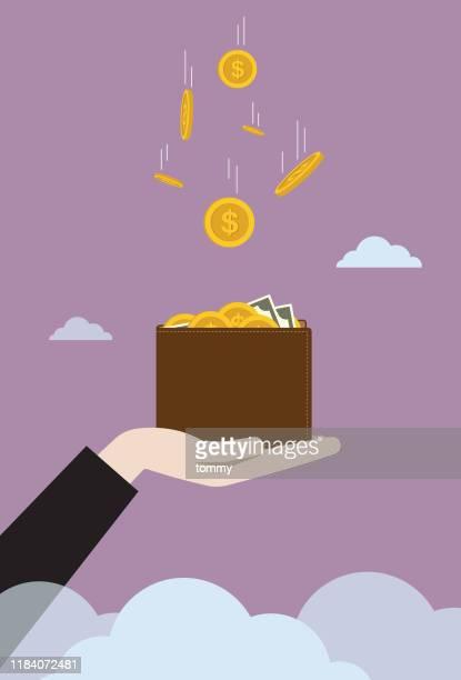 ビジネスマンの財布に落ちる米ドル硬貨 - 受ける点のイラスト素材/クリップアート素材/マンガ素材/アイコン素材