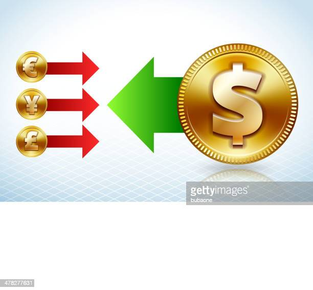 dollar coin vs international currency - fiscal year stock illustrations