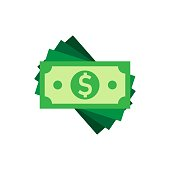 Dollar currency banknote icon in flat style. Dollar cash vector illustration on white isolated background. Banknote bill business concept.