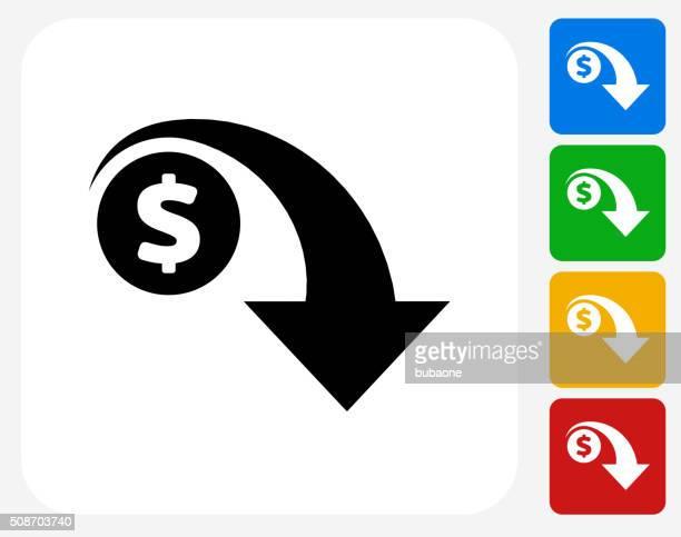 dollar decrease icon flat graphic design - deterioration stock illustrations, clip art, cartoons, & icons