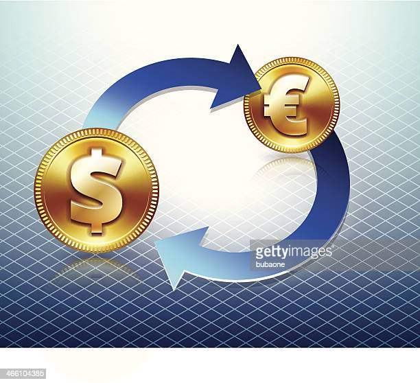 dollar & euro currency trade - fiscal year stock illustrations