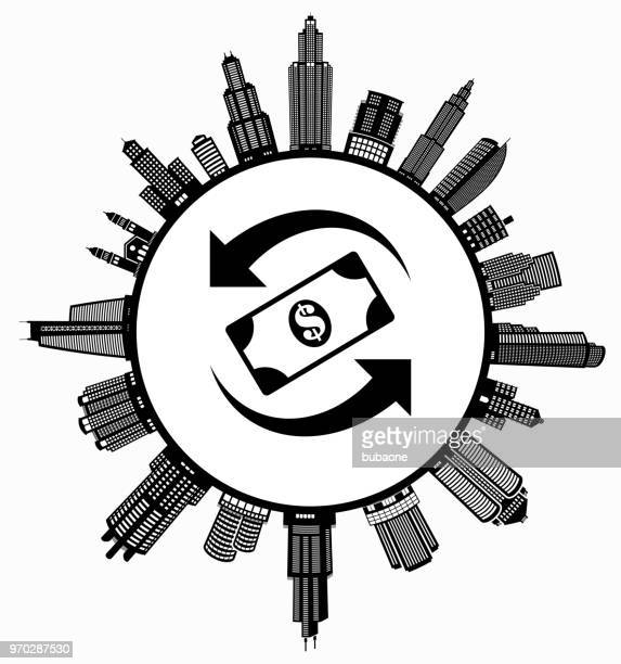 dollar exchange auf modernen stadtbild skyline hintergrund - stockwerk stock-grafiken, -clipart, -cartoons und -symbole