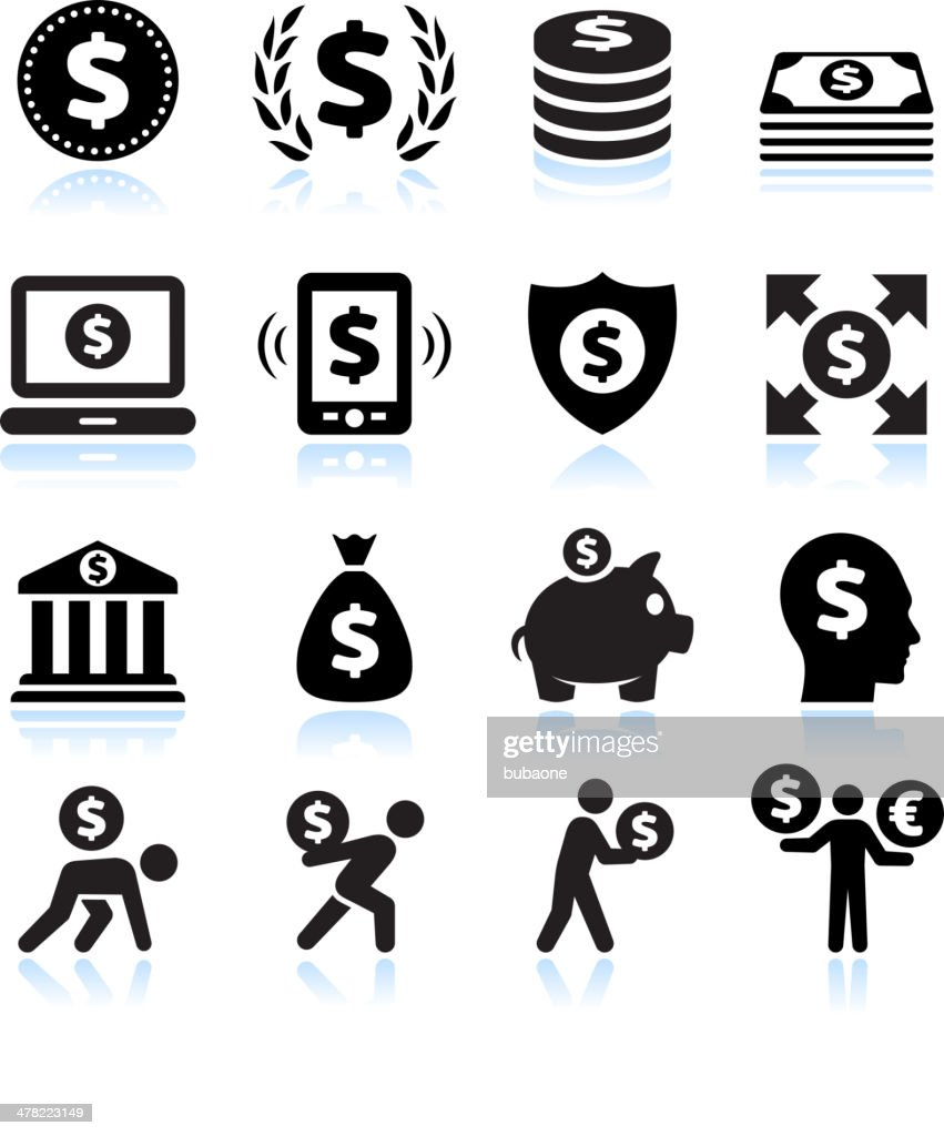 Dollar Finance and Money Black & White vector icon set