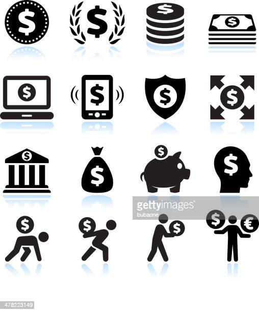 dollar finance and money black & white vector icon set - physical pressure stock illustrations