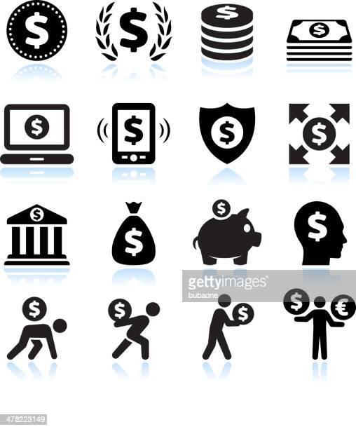 ダラー金融とお金ブラック&白のベクトルアイコンを設定します。