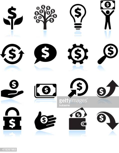 dollar finance and money black & white vector icon set - dollar sign stock illustrations, clip art, cartoons, & icons