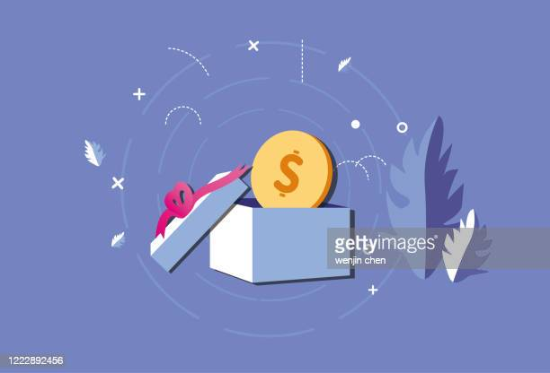 dollar gifts, surprise graphics - christmas cash stock illustrations