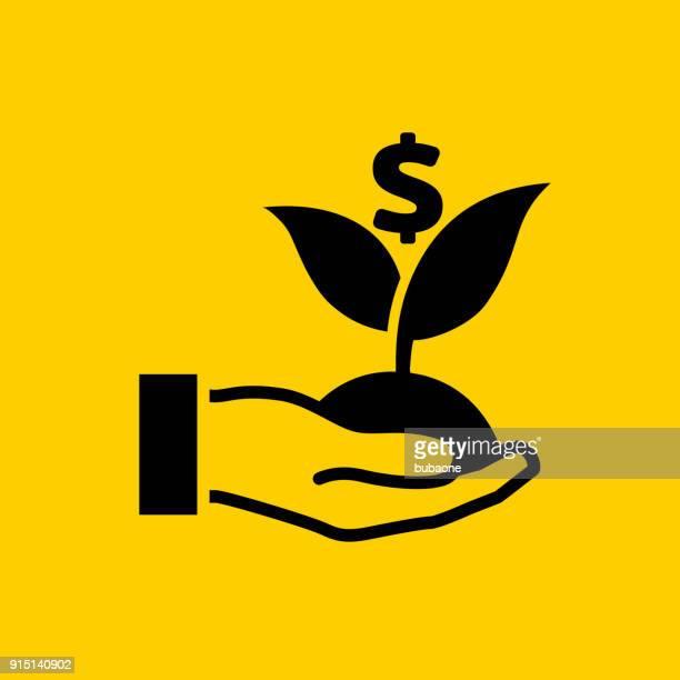 dollar growths in human hand. - money tree stock illustrations, clip art, cartoons, & icons