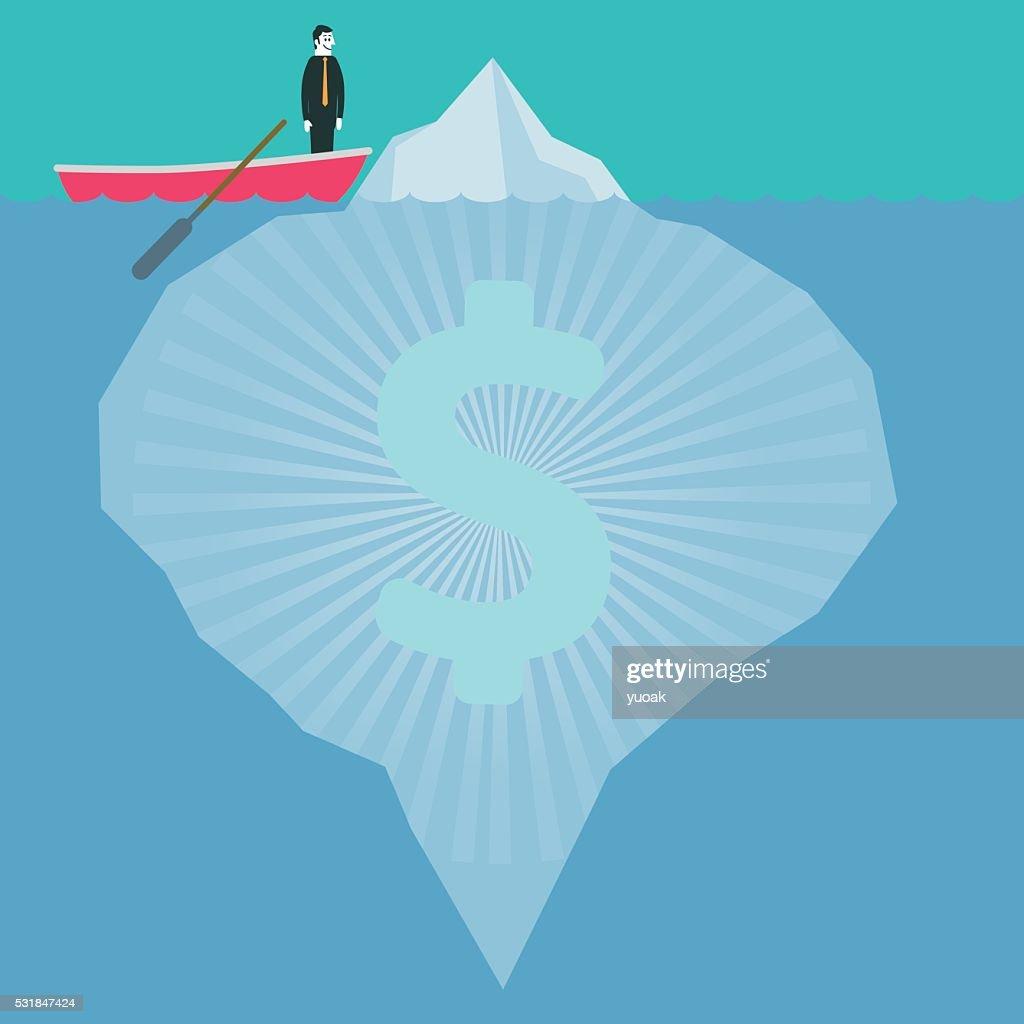 Dollar Iceberg : stock illustration