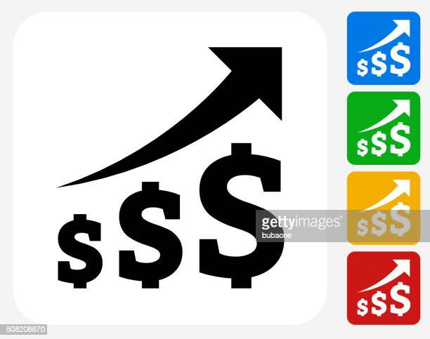 dollar increase icon flat graphic design - consumerism stock illustrations