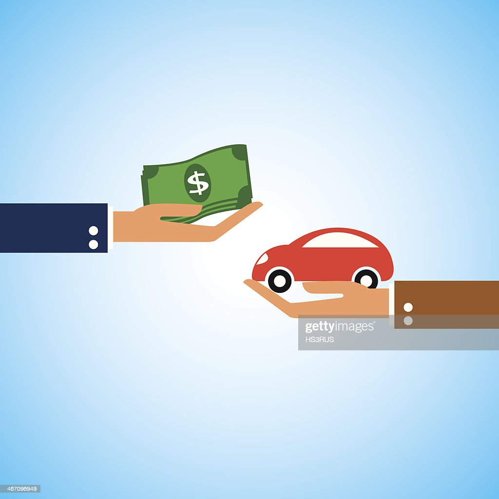 Dollar money and car shape in hand