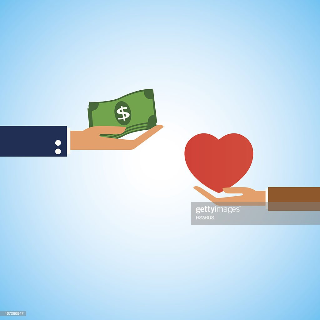 Dollar money  buy heart love
