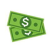 Dollar money icon. Cash sign bill symbol flat payment, dollar currency icon