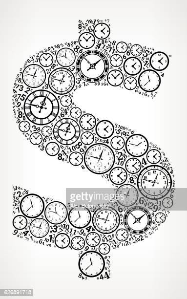 Dollar on Time and Clock Vector Icon Pattern