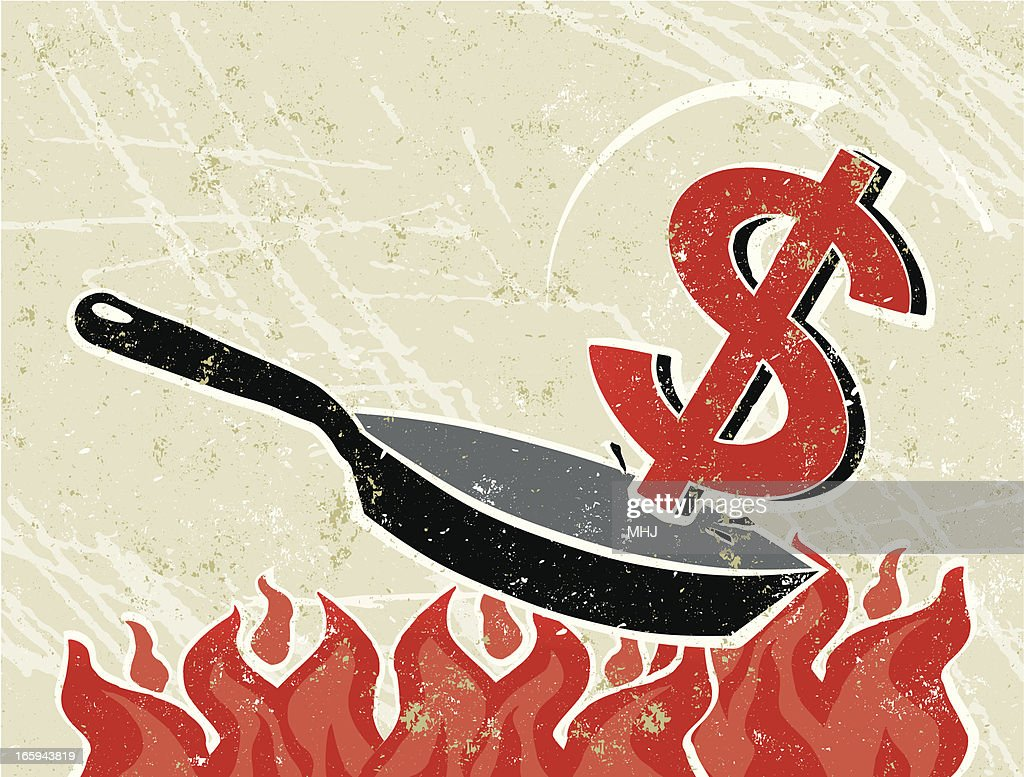 Dollar Out of a Frying Pan into The Fire : Vector Art