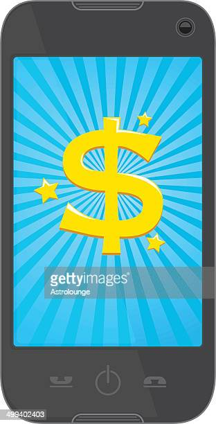dollar phone - online advertising stock illustrations, clip art, cartoons, & icons