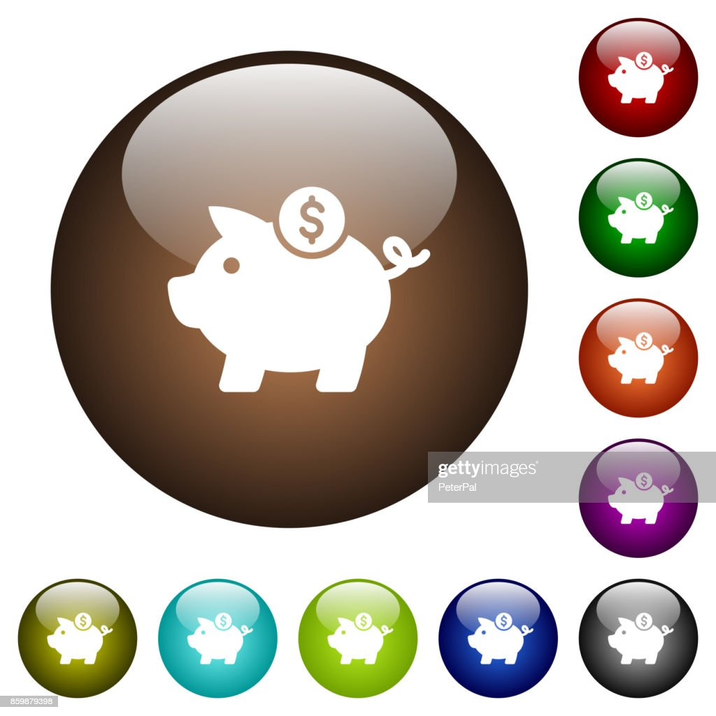 Dollar piggy bank color glass buttons