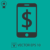 Dollar sign and phone vector icon