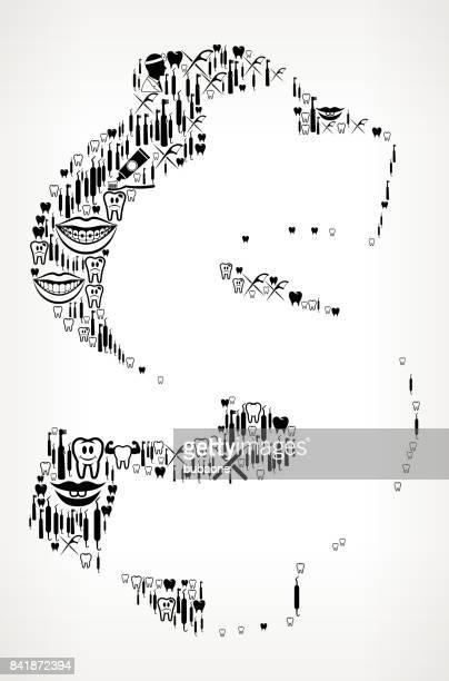dollar sign dentist and dental vector icon pattern - x ray equipment stock illustrations, clip art, cartoons, & icons
