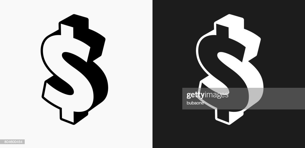 Dollar Sign Icon On Black And White Vector Backgrounds Stock