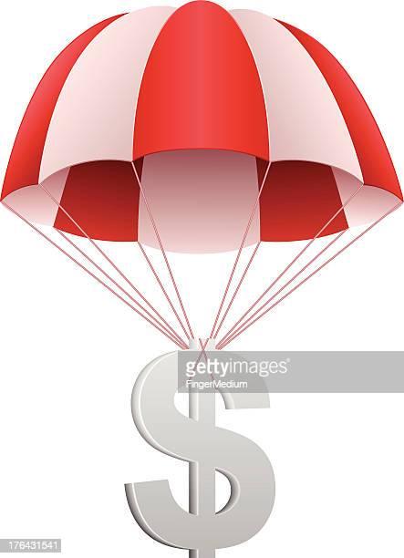 illustrations, cliparts, dessins animés et icônes de symbole du dollar en parachute - saut en parachute