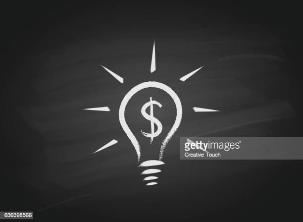 ilustrações, clipart, desenhos animados e ícones de símbolo do dólar lâmpada no quadro-negro - símbolo do dólar