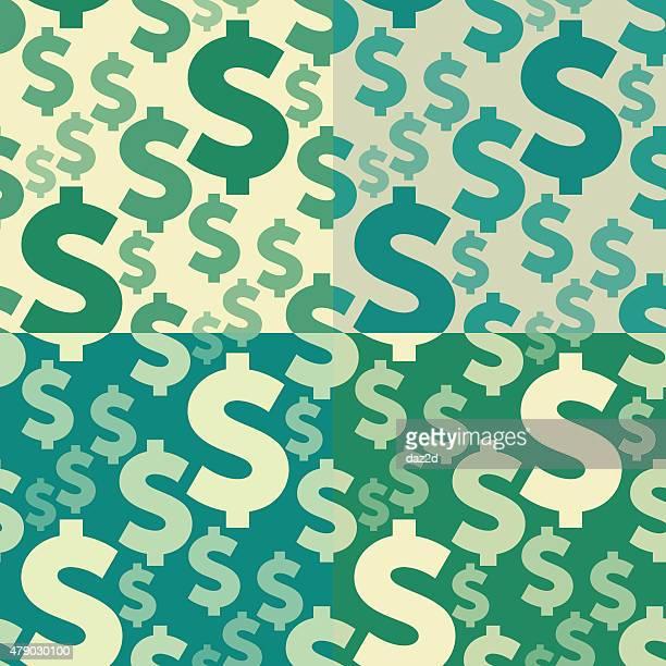 ドル記号シームレスなパターンのセット