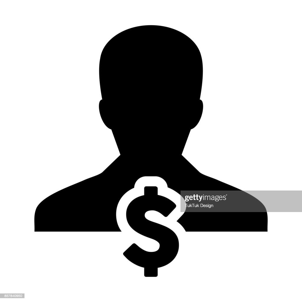 Dollar Sign Symbol Icon Vector Currency With Male Person In Glyph
