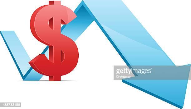 Dollar-Zeichen mit dem Pfeil nach unten