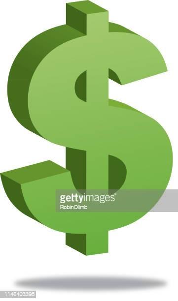 illustrazioni stock, clip art, cartoni animati e icone di tendenza di simbolo di dollaro con ombra - simbolo del dollaro
