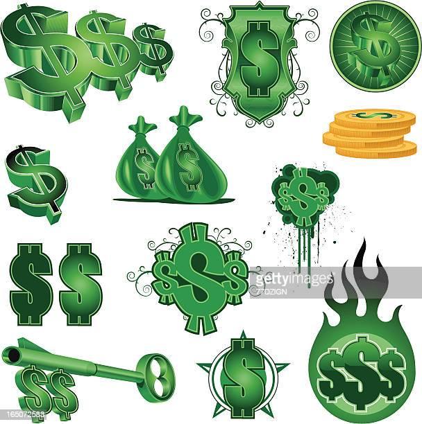 dollar signs - cash flow stock illustrations, clip art, cartoons, & icons