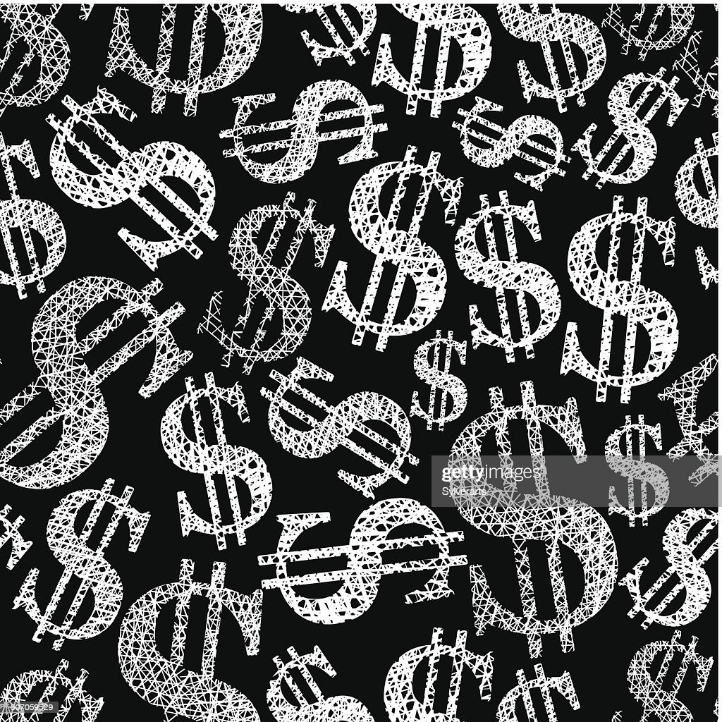 Dollar symbols seamless pattern, money theme vector backdrop