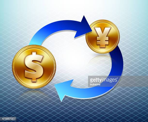 dollar & yen currency trade - fiscal year stock illustrations