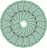Dollars laid out in a circle, money