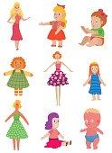 Dolls toys vector set.