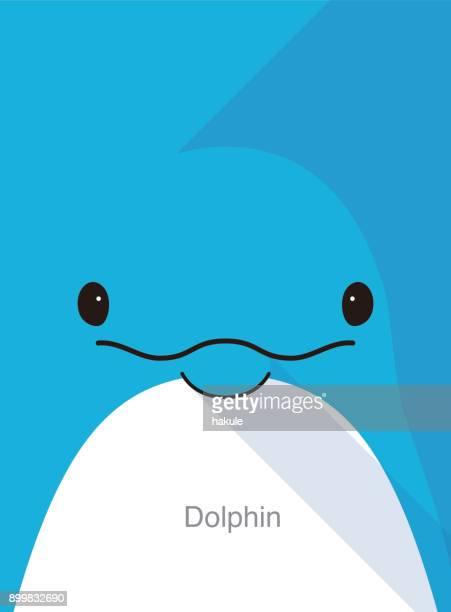 dolphin face flat icon design, vector illustration