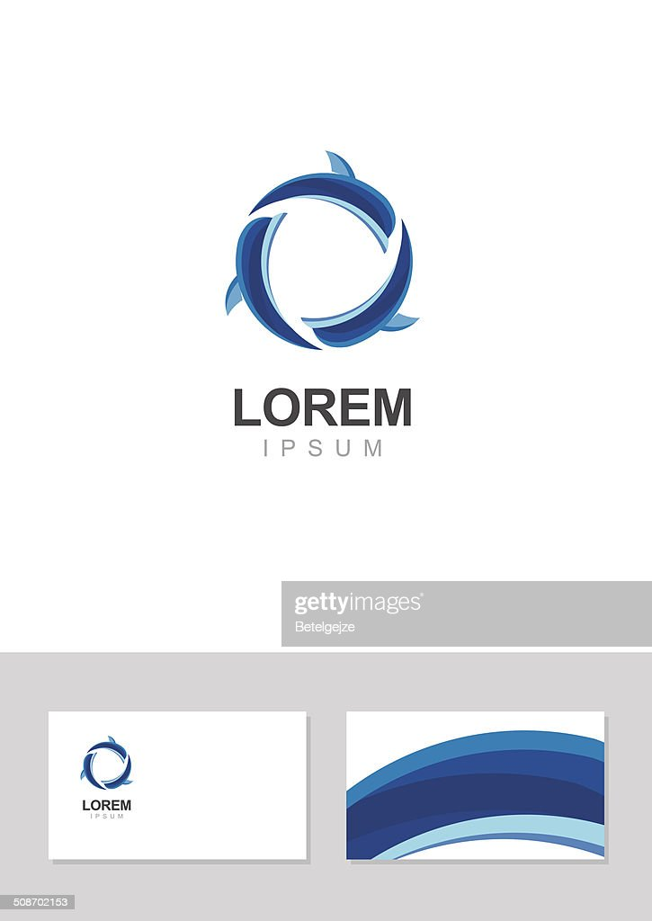 Dolphin icon design element with business card template