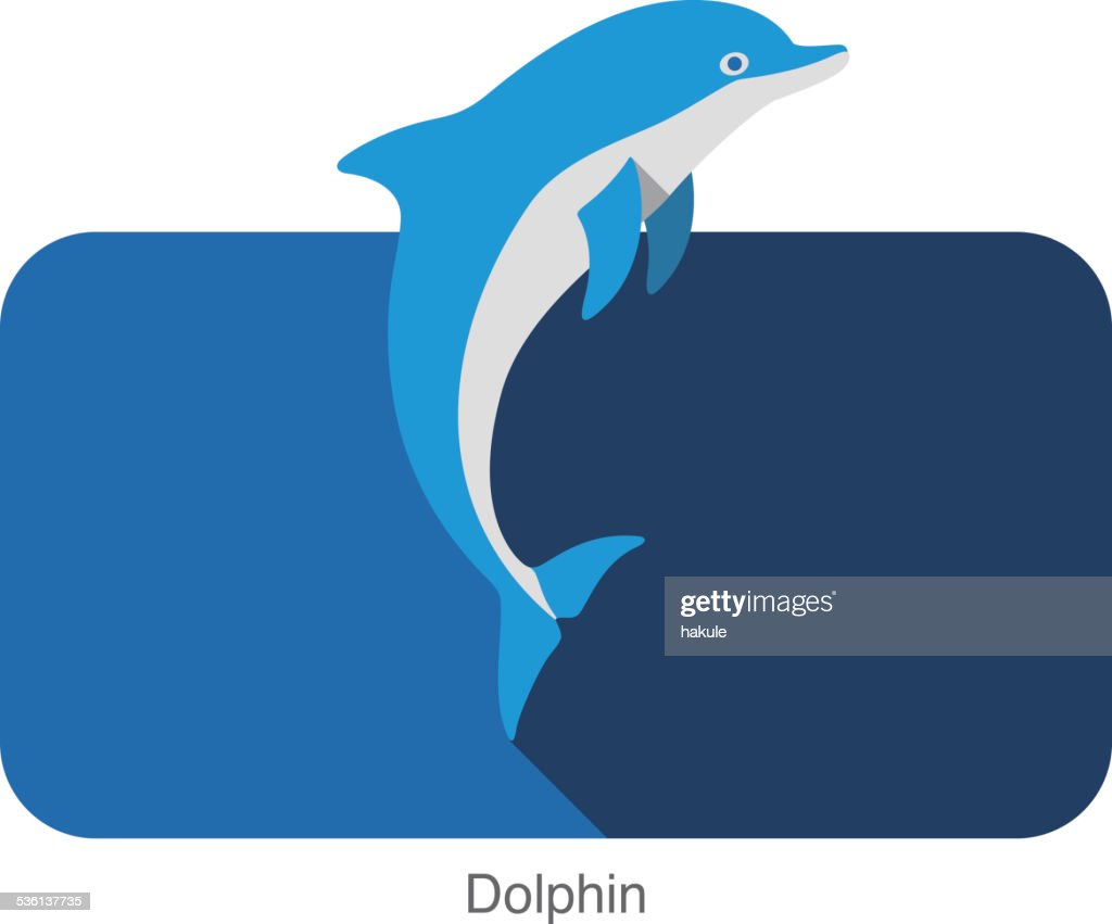 Dolphin jumping ouside the sea flat icon design