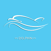 Dolphin logo on blue sea background.Vector flat illustration for design