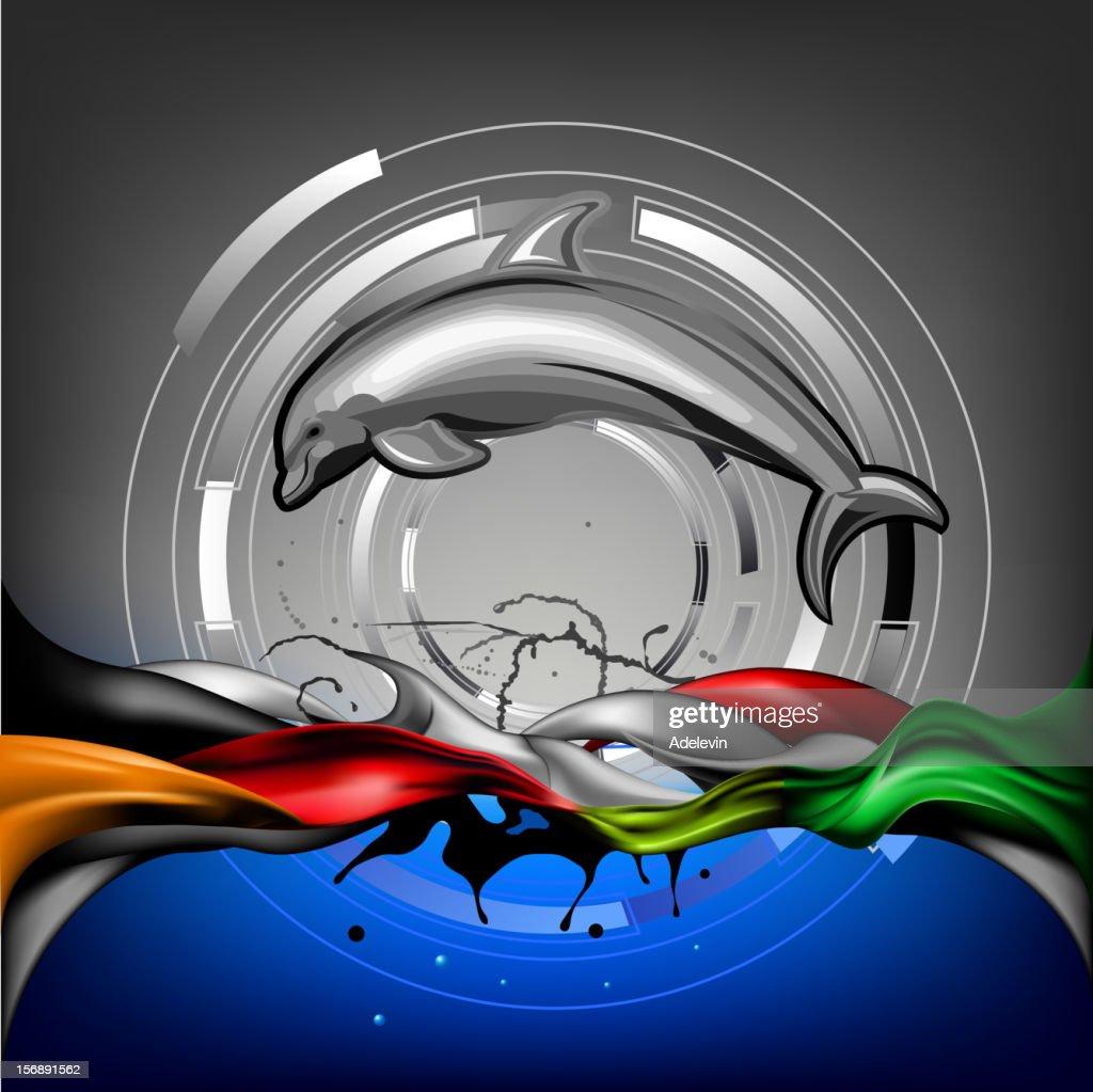 Dolphin on wave : stock illustration