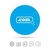 Domain COM sign icon. Top-level internet domain.